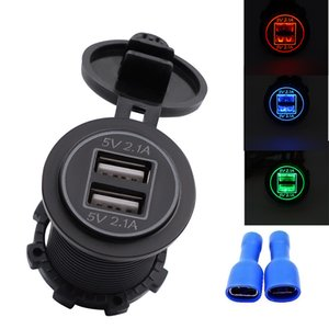 high quality 5V 4.2A Dual USB 12V 24V Car Motorcycle Truck Cigarette Lighter Adapter Mobilephone Charger Socket Black