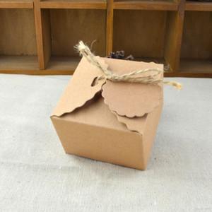 Kraftpapier Pralinenschachtel Retro Welle Form Platz Cookies Boxen DIY Braun Geschenk Paket Organizer Neue Muster 0 35 wj B