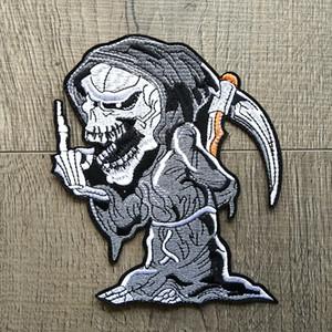 Cartoon Grim Reaper Skull Patch ricamate per abbigliamento Ferro su vestiti Motociclista Biker Appliques Badge Stripes Adesivi Fai da te 2 pezzi / set