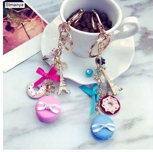 Macarons Cake Keychain Schlüsselanhänger Mit Frankreich Paris LADUREE Effiel Tower Macarons Ribbon Schlüsselanhänger Bag Charm Geschenkzubehör 1502