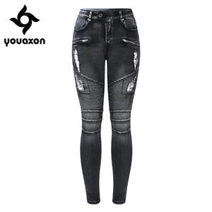 2168 Youaxon Yeni Siyah Motosiklet Biker Zip Kot Kadın Orta Yüksek Bel Streç Denim Sıska Pantolon Motorlu Kot Kadınlar Için D1892003