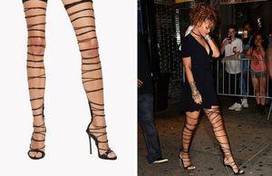 2017 Rihanna Estilo Coxa Alta Sandálias Recortes Gladiador Botas Dedo Do Pé Aberto Sapatos de Salto Alto T-walk Moda