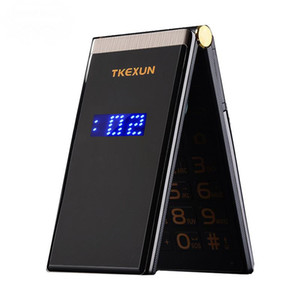 Original TKEXUN M2 Flip téléphone cellulaire Metal Body Senior Senior Dual Sim caméra MP3 MP4 3.0 Pouce Écran Tactile Téléphone Mobile