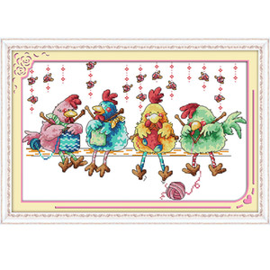A galinha de confecção de malhas de uma Lona Lona DMC 11ct e 14ct Contados Kits de Ponto Cruz Chinesa impresso ponto-Cruz conjunto Bordado Needlework