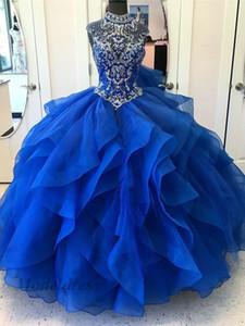 Royal Blue cuello alto vestidos de quinceañera listones cristales pedrería Sheer Neck Ruffles acanalado organza con gradas Sweet 16 vestidos de cumpleaños