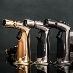 schön Honest echte Persönlichkeit Four Gun windundurchlässiges Feuerzeug Gerade Aufblasbare Zigarettenanzünder Ignition Baking Fackel leichter