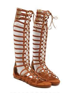 Designer Femmes Rome Sandales Creuser Zip Up Flat Sandales Gladiator Bandage chaussures de designer chaussures 2018 Summer ladies Party sandales pour femmes