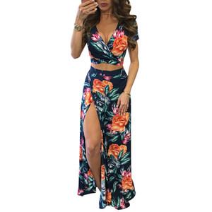 YJSFG HOUSE Elegant Women Summer Long Maxi Dresses Set de dos piezas Sexy 2017 Hollow Out Crop Top Faldas Estampado floral 2 piezas Trajes