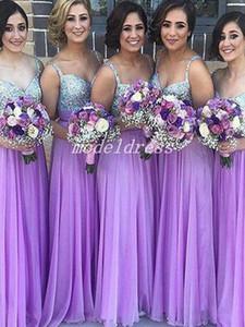 Светло-Фиолетовый Невесты Платья Спагетти Длина Пола Основные Бисероплетение Кристалл Country Garden Beach Свадебные Платья Почетная Горничная Платье