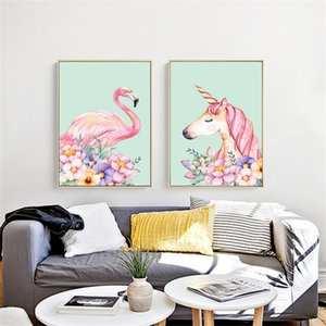 Sin marco Punto de Cruz Cuadrado Flamingo Unicornio 5D Pintura Diamante DIY Colgante de Pared Home Living Room Decor 33om3 C