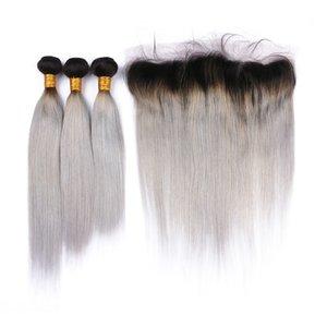 Lot de cheveux humains brésiliens gris argent Ombre avec fermeture frontale en dentelle 13x4 # 1B droit / liseré Ombres de cheveux vierges Ombre gris avec frontaux