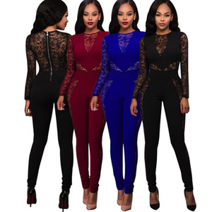 Women Lace Rompers Club Jumpers Women Fashion Sexy Lace Floral High Waist Mesh Patchwork Skinny Tracksuit Bodycon Tracksuit