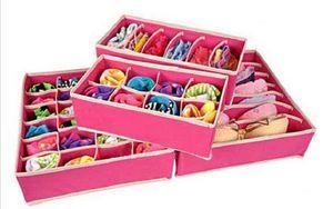 4 unids / set calcetines de almacenamiento en casa sujetador ropa interior corbata cajas de almacenamiento organizadores del armario divisores del cajón