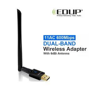 EDUP AC 600Mbps 2.4 / 5.8GHz 11dB 듀얼 밴드 무선 어댑터 (6dBi 안테나 지원) Windows 및 MAC (소매 패키지 포함)