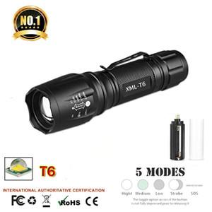 T6 светодиодный фонарик 1000LM алюминиевый водонепроницаемый Масштабируемые водонепроницаемый фонарь для 18650 батареи или батареи 3A