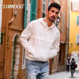 SIMWOOD 2018 Spring New Thin Pull-over Giacche Uomo Slim Fit Giacca a vento con cappuccio Giacca bianca Plus Size di alta qualità 180165