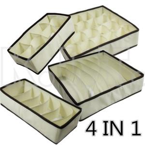 4 in1set Fashion Colourful Folding Storage Box Bag various Grid Pattern for Bra Underwear Necktie Sock Organizer Home Supplies
