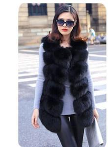Atacado-Alta qualidade Faux Fox Fur Vest Mulheres Inverno Moda Casaco Jaqueta Rosa das Mulheres de Luxo Gilet Veste Fourrure Femme