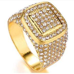 HIP Hop Bling Buzlu Out Kare Kristal Yüzük Altın Renk Paslanmaz Çelik Alyans Erkekler Takı Için ABD Boyutu 6-10