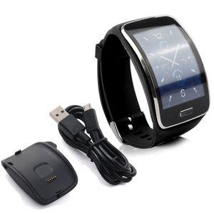 Schwarzes TPU-Ersatzarmband für Samsung Galaxy Gear S SM-R750-Uhrenarmband mit Gear S-Ladegerät