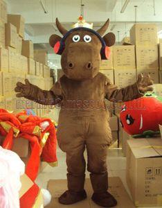 Costume de mascotte King Cow Livraison gratuite taille adulte, fête de carnaval en peluche luxe mascotte musicale vache fête les ventes d'usine mascotte.