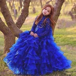 Royal Blue Glitz Mädchen Festzug Kleider 2018 Ballkleid High Neck Long Sleeves Organza Rüschen Cupcake Blumenmädchen Kleider Hochzeit Kleid
