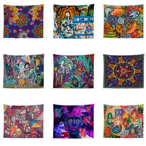 150 * 130cm 20 stili Graffiti Tapestry Wall Hanging Beach Picnic tiro Tappeto parete coperta appeso Arredamento Bambini yoga coperta mat T2I345