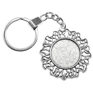 6 Pieces Key Chain Women Key Rings Fashion Keychains For Men Sun Cloud Inner Size 25mm Round Cabochon Cameo Base Tray Bezel Blank