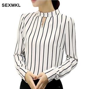 SEXMKL Womens White Shirt 2018 coreano moda autunno inverno manica lunga camicetta abbigliamento ufficio signore a righe Top e camicette