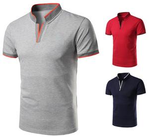 2019 nouvel homme polo shirt à manches courtes v cou stand col en coton contraste couleur design slim fit pour hommes polo shirts livraison gratuite y1612