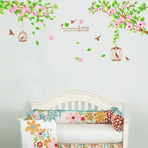 Flowers Tree Branches Wall Stickers Living Room Bedroom Wall Mural Poster Art Birdcage Love Wall Quote Decal Home Decor Graphic