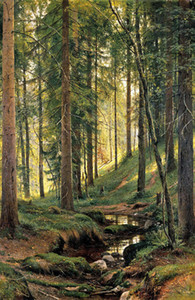 Ivan Ivanovich Shishkin - a Stream in the woods Hand Painted & HD Print Home Wall Decor Art Oil painting on canvas Multi Size  Frame