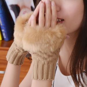 Womens Winter Gloves Faux Rabbit Fur Lengthen The Wrist Half-finger Solid Color Fashion Versatile Gloves