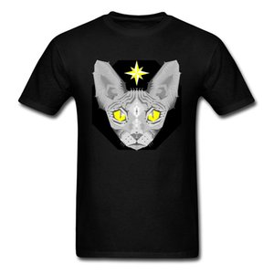 T-shirt geometrica Sphynx Cat 2018 Canotta canadese Nuovi uomini di arrivo Maglietta nera Maglietta unica di cartone animato estiva