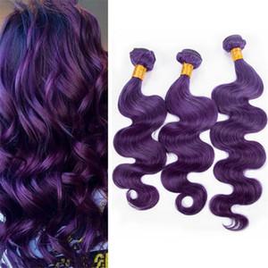 Oscuro púrpura del pelo humano armadura 3 paquetes onda del cuerpo ondulado púrpura Virgen indio máquina del pelo extensiones de tramas Dhl libre