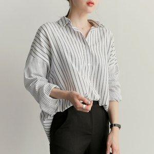 Shintimes Blusas Artı Boyutu Gevşek Beyaz Çizgili Gömlek Uzun Kollu Bluz Sonbahar 2018 Womens Tops Ve Bluzlar Rahat Chemise Femme