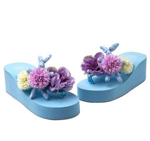 HAHAFLOWERbohemia flip flops flower beach shoes sandals handmade wedge platform slippers holiday summer weeding shoes 35-44