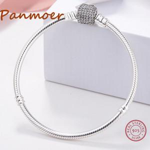 S925 Sterling Silver Square Chaîne De Serpent Zircon Boucle Charme Bracelet Bracelet Femmes fit pandoras Bracelet Original logo Bijoux