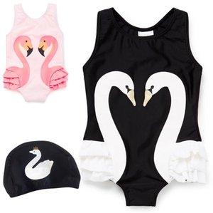 Verão Bonito Swan Padrão Bebê Menina Swimwear One Piece com Natação Cap 1-9Y Praia Meninas Maiô Kid Crianças Trajes De Natação Bikin