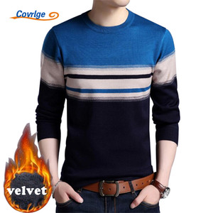 Wholesale-Covrlge 2017 Winter New Men's Pullovers Velvet Thick Warm Plaid Knitted Sweater Male Plus Size Clothes Christmas Sweater MZL025