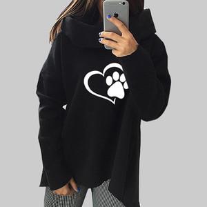 Moda Coração Gato Ou Cão Pat Padrão de Impressão Roupas Mulheres Hoodies Cachecol Collar Hip Hop Pullovers Casuais Camisolas Para feminino