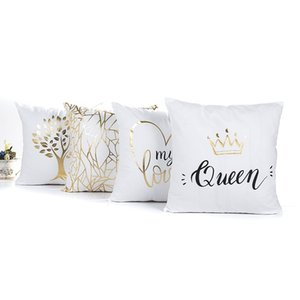 Queen Crown Cushions Cover 4 styles Golden Tree MY LOVE Bronzing Pillows Covers 45X45cm Bedroom Sofa Decoration