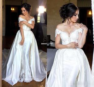 Элегантные свадебные платья-футляры со съемным шлейфом с плеча Аппликации из бисера Бисероплетение Свадебные платья Длинные шлейфы Оверху юбки Свадебное платье