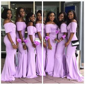 Vintage 2019 Meerjungfrau Brautjungfernkleider für Hochzeit Slim Südafrikanische Kurzarm Mermaid Brautjungfer Kleider Günstige Frauen Formale Tragen