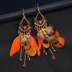 Troddel baumeln Ohrringe für Frauen lange Feder-Ohrringe Brincos Bijoux Schmuck Hochzeit Ohrringe Bohe Schmuck Großhandel