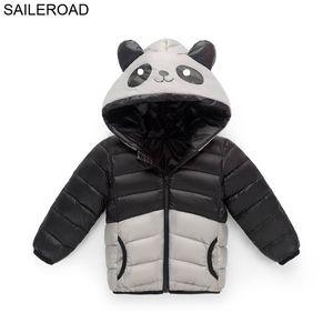 Saileroad 3-8years الكرتون الباندا تأثيري حلي الشتاء الأطفال أطفال قميص أبيض بطة أسفل معطف دافئ الفتيان الفتيات بانخفاض سترة