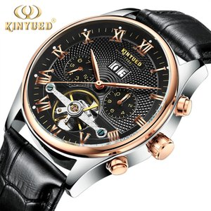 KINYUED Skeleton Automatic Watch Men Waterproof Top Brand Mens Mechanical Watches Leather Calendar Rose Gold Relogio Masculino D18101002