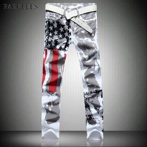 USA Flagge Drucken Weiße Gerade Jeans Männer 2018 Marke Neue Lässige Washed Cotton Stretch Jeans Homme Hiphop Hallo Straße Masculino
