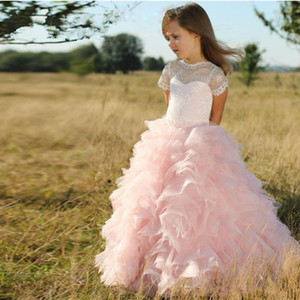 Cute Pink Tulle capas volados una línea Flower Girls vestidos mangas cortas de encaje princesa Wedding Party vestidos para niños Lovely Girls 'vestidos