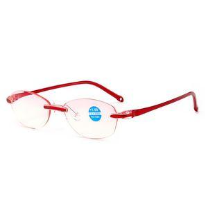 Alta qualità Moda Uomo Donna Frameless anti raggi blu Occhiali da lettura Alta protezione del radiazione Occhiali da presbiopia protezione radiazione